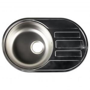 Мойка врезная Eurodomo 71х45 см цвет хром, нержавеющая сталь