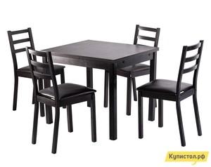 Обеденная группа для столовой и гостиной Mebwill Обеденная группа Рене Стол + 4 стула Венге / Миланский дуб темный