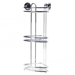 Полка для ванной комнаты Tatkraft «Vacuum Screw» угловая трёхъярусная сталь